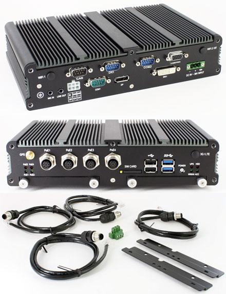 FleetPC-8-i7B-POE Car-PC (Intel Core i7-4650U 2x1.7Ghz, 4GB RAM, Autostart-Controller, 9-36V Automotive PSU, GPS, CAN-BUS, 4x POE) [<b>FANLESS</b>]