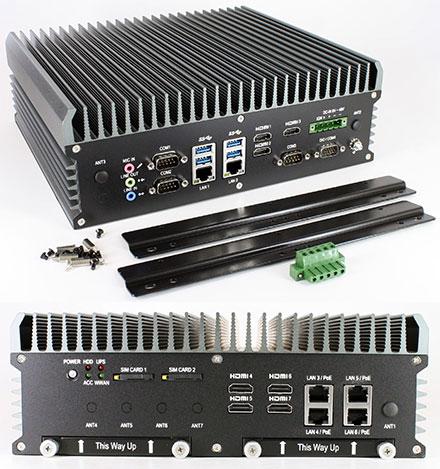 FleetPC-9-GTX1050 Car-PC (Intel Core i7-6700TE 4x3.4Ghz, NVIDIA GeForce GTX 1050 GPU, Autostart-Controller, 9-48V Automotive PSU, 6x LAN, 7x HDMI) [<b>FANLESS</b>]