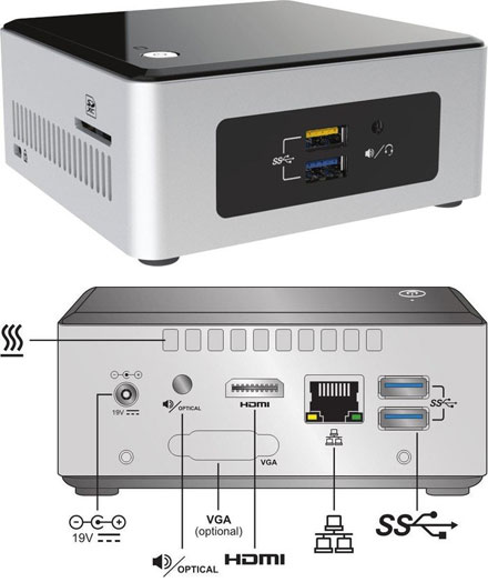 "Intel NUC5PPYH (Intel Pentium N3700 CPU 4x 1.60Ghz, 1x HDMI, 2.5"" HDD/SSD support)"